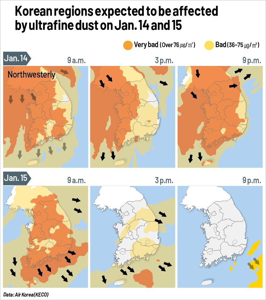 Areas forecast to be hit by ultrafine dust