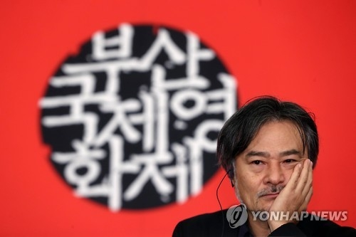 "Japanese horror maestro Kiyoshi Kurosawa listens to questions from reporters during a news conference for his latest film ""Daguerreotype"" at 21st Busan International Film Festival on Oct. 8, 2016. (Yonhap)"