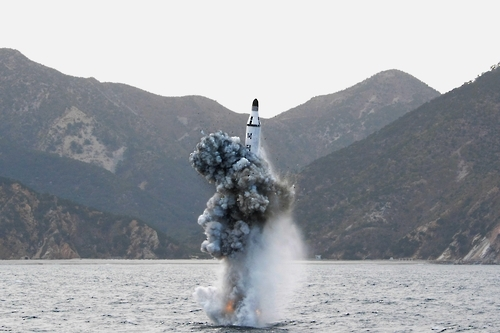 This undated file photo shows a submarine-launched ballistic missile fired from a submarine in North Korea. (For Use Only in the Republic of Korea. No Redistribution) (Yonhap)