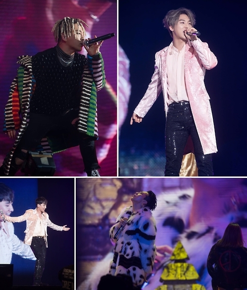 The undated photos provided by YG Entertainment shows Taeyang (Left Top), Daesung, G-Dragon, Seungri (clockwise). (Yonhap)