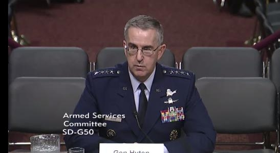 U.S. Air Force Gen. John Hyten, commander of the U.S. Strategic Command, speaks during a Senate Armed Forces Committee hearing on April 4.