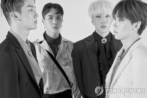 "This promotional image provided by YG Entertainment shows WINNER, which on April 4, 2017, made a comeback after 14 months with EP album ""Fate Number For."" (Yonhap)"