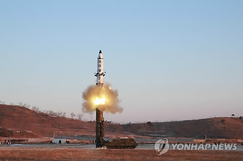 This photo unveiled by the communist country's Korean Central News Agency on Feb. 13, 2017, shows North Korea's launch of a new type of intermediate-range missile, also known as the Pukguksong-2. (For Use Only in the Republic of Korea. No Redistribution) (Yonhap)