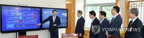 This photo, taken on May 24, 2017, shows President Moon Jae-in (second from L) listening to how to interpret figures shown on two large display panels installed in his office at Cheong Wa Dae indicating current conditions in the job market. (Yonhap)