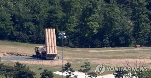 A Terminal High Altitude Area Defense (THAAD) rocket launcher is deployed at a golf course in Seongju, North Gyeongsang Province, in this file photo. (Yonhap)