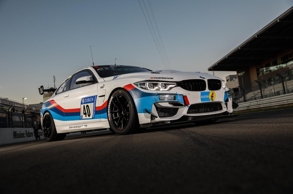 This undated photo provided by Hankook Tire shows the BMW M4 GT4 racing car equipped with the company's high-performance tires. (Yonhap)