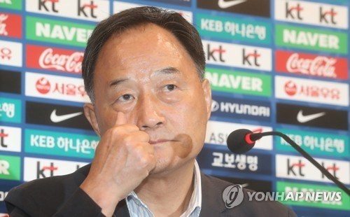 Kim Ho-gon, the Korea Football Association's technical director, speaks during a press conferene at the National Football Center in Paju, north of Seoul, on July 4, 2017. (Yonhap)