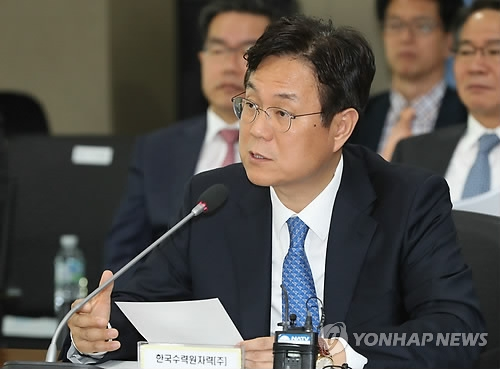 Lee Kwan-seop, CEO of the state-run Korea Hydro & Nuclear Power Co., speaks during a parliamentary audit held in the southeastern city of Ulsan on Oct. 25, 2017. (Yonhap)