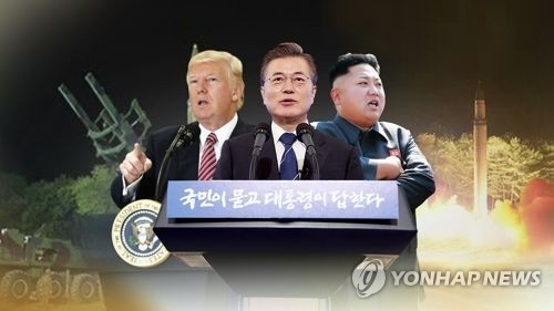 This image, provided by Yonhap News TV, shows South Korean President Moon Jae-in (C), U.S. President Donald Trump (L) and North Korean leader Kim Jong-un. (Yonhap)