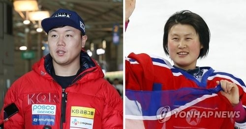 These file photos show South Korean bobsleigh pilot Won Yun-jong (L) and North Korean hockey player Hwang Chung-gum. They have been named as flagbearers for the two Koreas when they march in as one at the opening ceremony of the PyeongChang Winter Olympics on Feb. 9, 2018. (Yonhap)