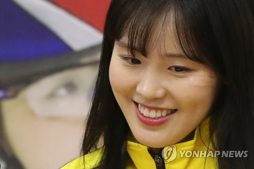 South Korean short track speed skater Kim A-lang listens to a question during a press conference at Goyang City Hall in Goyang, Gyeonggi Province, on Feb. 28, 2018. (Yonhap)
