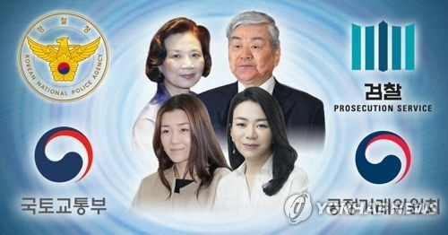 This image shows Korean Air Chairman Cho Yang-ho (top right) and family members, who are under investigation by authorities. (Yonhap)
