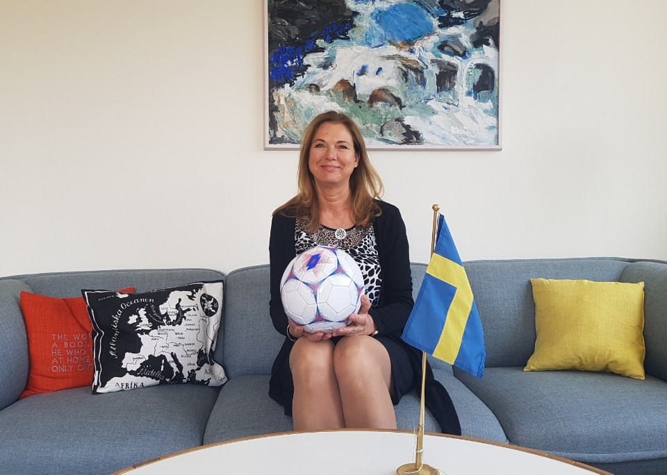 Anne Hoglund, Sweden's Ambassador to South Korea, poses for a photo at the Swedish Embassy in Seoul on May 8, 2018. (Yonhap)