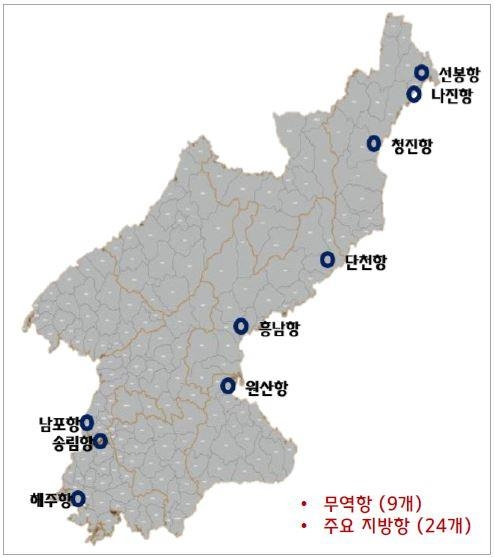 A map of the nine major ports in North Korea (Yonhap)