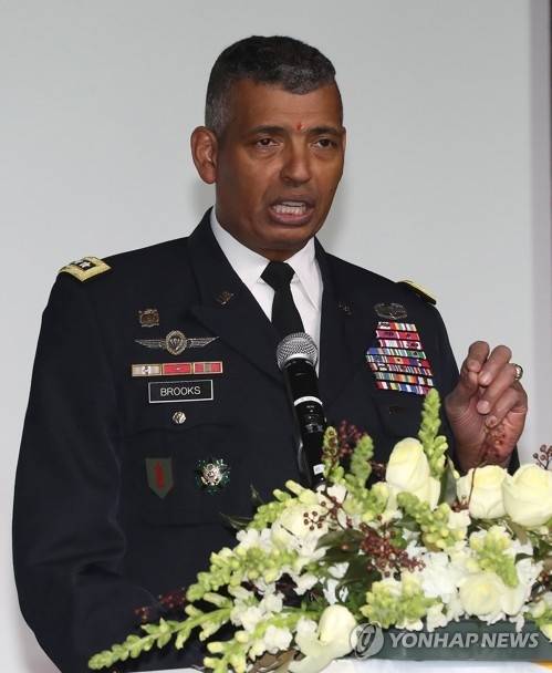 This photo taken on Jan. 26, 2018, shows Gen. Vincent K. Brooks, the commander of the U.S. Forces Korea, speaking at a diplomatic event in Seoul. (Yonhap)