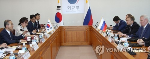 South Korea's Vice Foreign Minister Lim Sung-nam holds talks with his Russian counterpart Vladimir Titov at the ministry building in Seoul on June 1, 2018. (Yonhap)