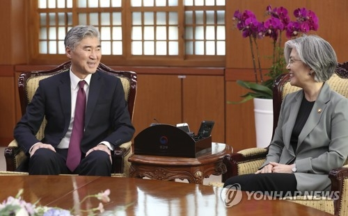South Korean Foreign Minister Kang Kyung-wha (R) holds talks with U.S. Ambassador to the Philippines Sung Kim at her office in Seoul on June 1, 2018. (Yonhap)