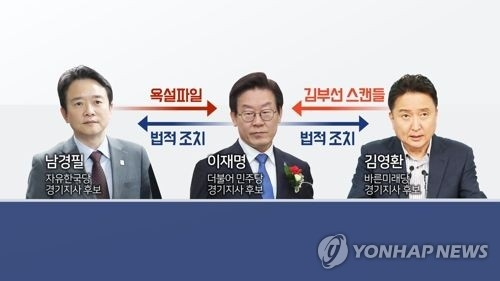 This image captured from footage released by Yonhap News TV shows three candidates for the Gyeonggi province governorship. From the left are Nam Kyung-pil of the main opposition LKP, Lee Jae-myung of the ruling DP and Kim Young-hwan from the opposition Bareunmirae Party. (Yonhap)