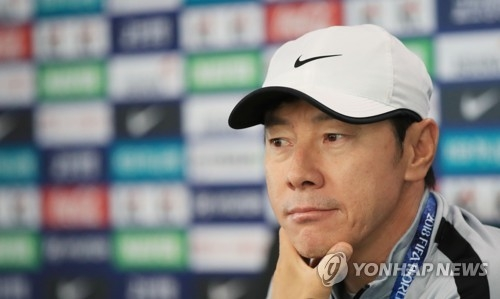 South Korea national football team head coach Shin Tae-yong speaks to reporters ahead of their open training at Spartak Stadium in Lomonosov, a suburb of Saint Petersburg, Russia, on June 13, 2018, five days ahead of their 2018 FIFA World Cup Group F match against Sweden. (Yonhap)