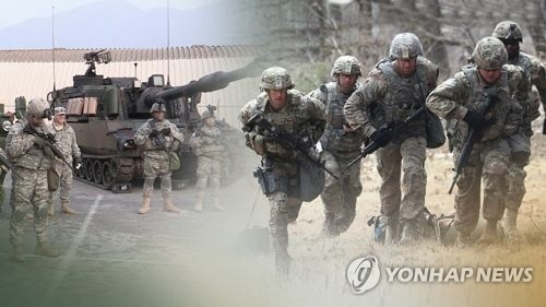 This image, provided by Yonhap News TV, shows U.S. troops in a military exercise. (Yonhap)