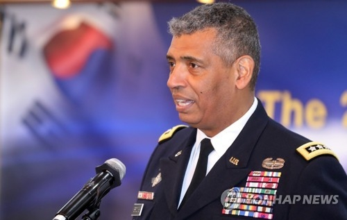 This photo, taken June 27, 2018, shows Gen. Vincent Brooks, the commander of the U.S. Forces Korea, speaking during a forum in Seoul. (Yonhap)