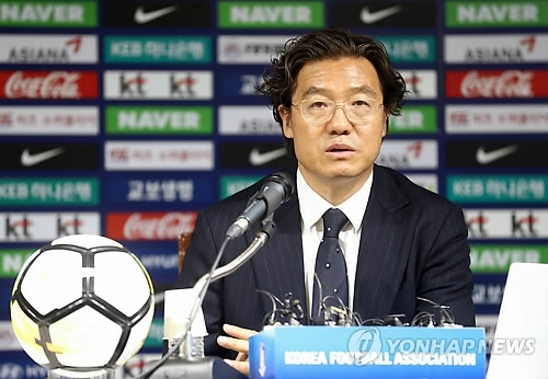 Kim Pan-gon, head of the national team coach appointment committee at the Korea Football Association (KFA), speaks at a press conference at the KFA House in Seoul on July 5, 2018. (Yonhap)