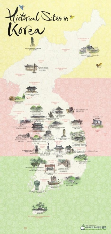 Map of Korea's historical sites distributed for foreign tourists - 1