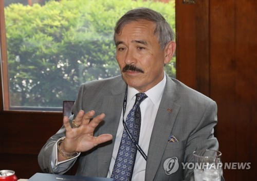 New U.S. Ambassador Harry Harris speaks during a meeting with reporters at his residence in Seoul on Aug. 2, 2018. (Yonhap)