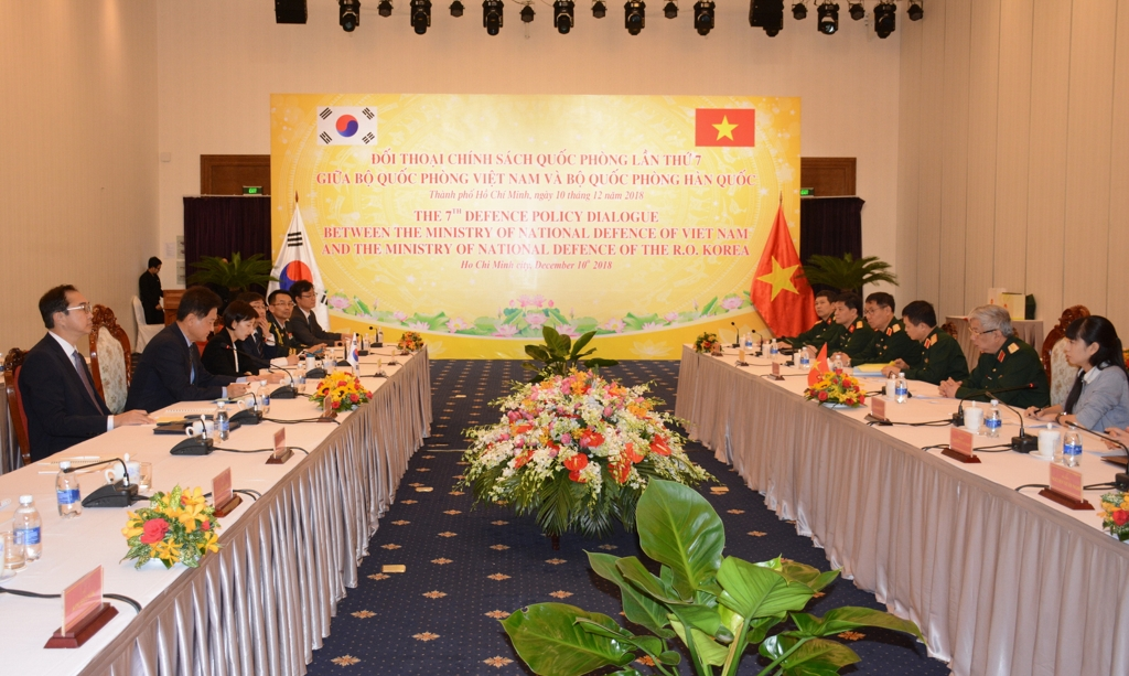 South Korean and Vietnamese defense officials hold an annual policy meeting in Ho Chi Minh City on Dec. 10, 2018, in this photo provided by Seoul's defense ministry. (Yonhap)