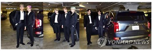 This composite photo provided by Hyundai Motor Co. shows the K-pop boy band sensation BTS getting out of the company's flagship Palisade SUV for the 61st Grammy Awards on Feb. 11, 2019. (Yonhap)