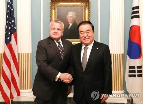 S. Korean parliamentary speaker talks about N. Korea in U.S.