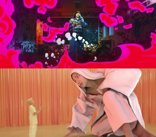 "These images from the music video of ""Persona,"" the intro track for ""Map of the Seoul: Persona,"" are provided by Big Hit Entertainment. (Yonhap)"