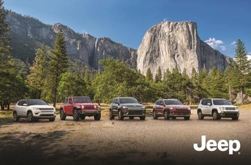 This FCA photo shows its Jeep SUV lineup (from L to R) -- the Compass, Wrangler, Grand Cherokee, Cherokee and Renegade. (Yonhap)
