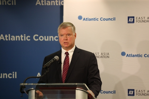 U.S. Special Representative for North Korea Stephen Biegun speaks at an event at the Atlantic Council think tank in Washington on June 19, 2019. (Yonhap)