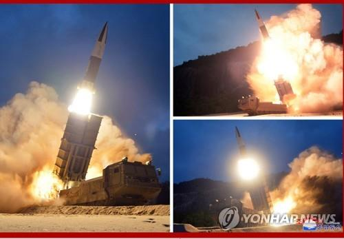 This composite photo shows the test-firing of missiles disclosed by the North's Korean Central News Agency on Aug. 11, 2019, a day after their launch from the North's eastern coastal city of Hamhung. (For Use Only in the Republic of Korea. No Redistribution) (Yonhap)