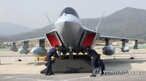 The mock-up of South Korea's envisioned indigenous cutting-edge fighter aircraft, which is being developed under the country's KF-X project, is unveiled to the media for the first time on Oct. 14, 2019, a day before the opening of the Seoul International Aerospace & Defense Exhibition (ADEX) 2019, set to run from Oct. 15-20 at Seoul Airport in Seongnam, south of Seoul. (Yonhap)