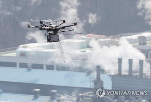 A drone with sensors flies over Banwol National Industrial Complex in Ansan, 40 kilometers southwest of Seoul. (Yonhap)