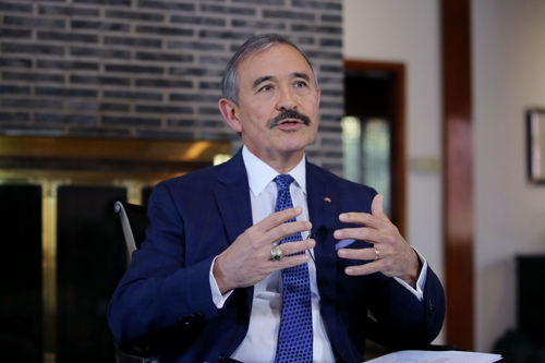 U.S. Ambassador to South Korea Harry Harris speaks during an interview with Yonhap News Agency at his official residence in Seoul on Nov. 19, 2019. (Yonhap)