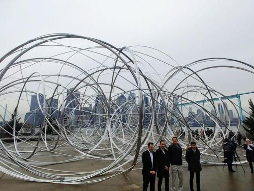 "British sculptor Antony Gormley's ""New York Clearing"" is unveiled at Brooklyn Bridge Park Pier 3 on Feb. 4, 2020. (Yonhap)"
