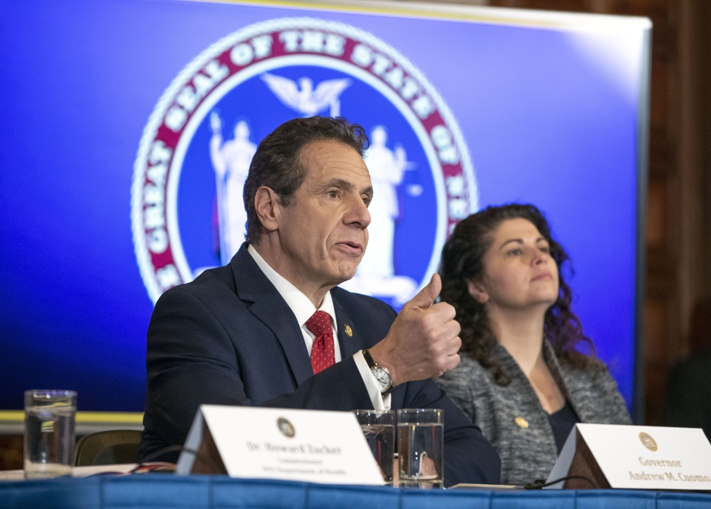 New York Gov. Andrew Cuomo speaks during a press briefing on the coronavirus in Albany, New York, on March 4, 2020, in this photo provided by the governor's office. (Yonhap)
