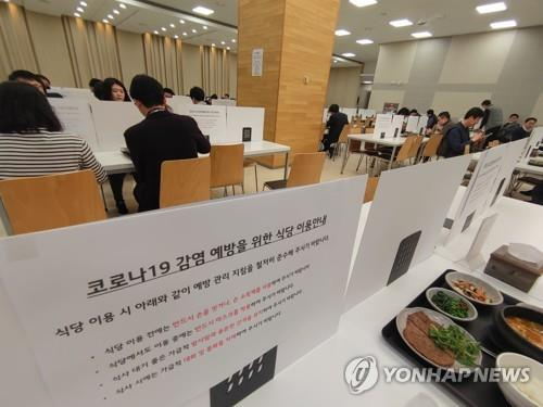 In this photo provided by LG Group on March 3, 2020, screens are set up on tables of a cafeteria at the group building in Seoul to help prevent coronavirus infections between them. (PHOTO NOT FOR SALE) (Yonhap)