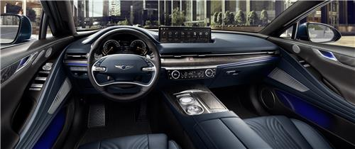 This file photo provided by Hyundai Motor shows the interior of the G80 sedan. (PHOTO NOT FOR SALE)(Yonhap)
