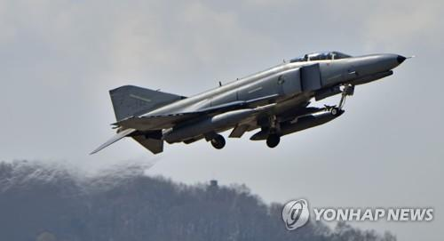 In this photo, provided by the Air Force, an F-4E fighter takes off from the 10th Fighter Wing base in Suwon on April 2, 2019. (Yonhap)
