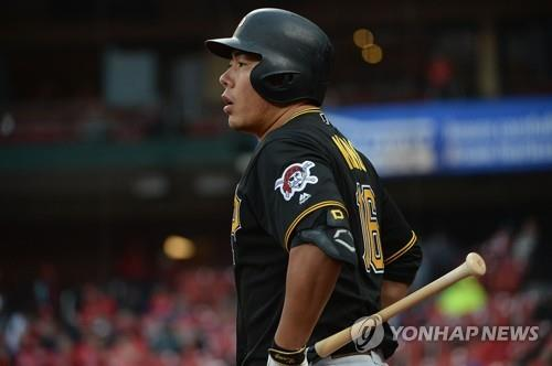 In this Getty Images file photo from May 11, 2019, Kang Jung-ho of the Pittsburgh Pirates waits in the on-deck circle during a Major League Baseball regular season game against the St. Louis Cardinals at Busch Stadium in St. Louis. (Yonhap)