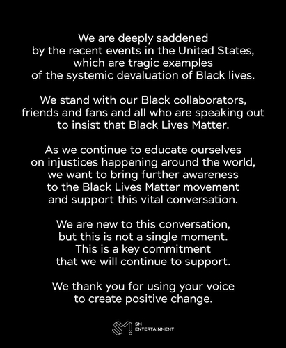 SM Entertainment expresses support for U.S. Black Lives Matter movement
