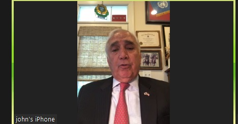 This screenshot shows former U.S. Forces Korea Commander Gen. John Tilelli speaking to Yonhap News Agency during a virtual interview on June 18, 2020. (Yonhap)
