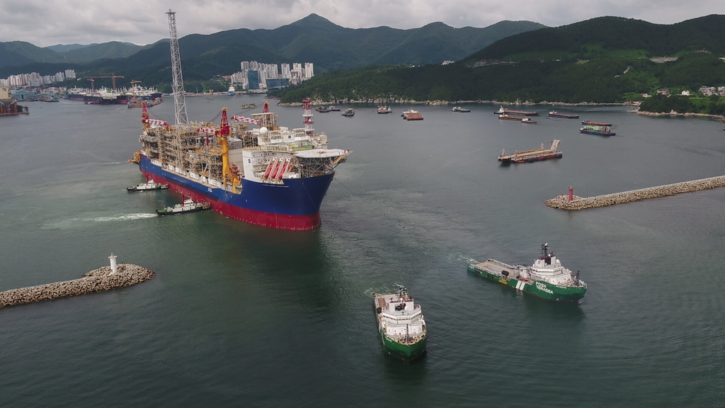This file photo provided by Daewoo Shipbuilding & Marine Engineering Co. shows a floating production and storage offloading (FPSO) unit built by the shipbuilder in 2017. (PHOTO NOT FOR SALE) (Yonhap)