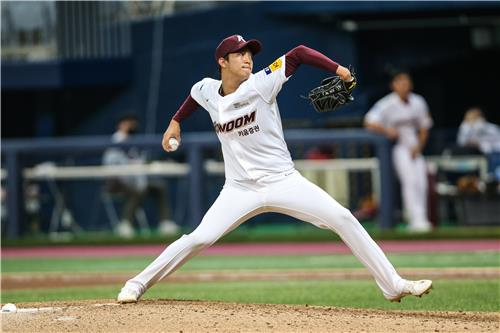 An Woo-jin of the Kiwoom Heroes pitches against the Samsung Lions in the teams' Korea Baseball Organization regular season game at Gocheok Sky Dome in Seoul on July 8, 2020, in this photo provided by the Heroes. (PHOTO NOT FOR SALE) (Yonhap)