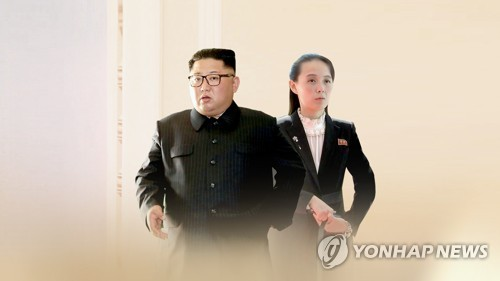 This graphic image provided by Yonhap News TV shows North Korean leader Kim Jong-un and his younger sister Kim Yo-jong. (PHOTO NOT FOR SALE) (Yonhap)