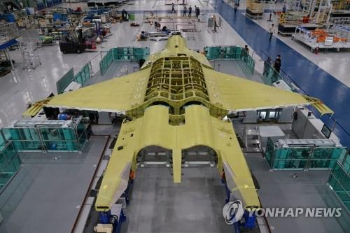 This undated photo provided by the Defense Acquisition Program Administration on Sept. 3, 2020, shows a prototype of South Korea's envisioned fighter jet being assembled at the Korea Aerospace Industries Co. facility in Sacheon, South Gyeongsang Province, southeastern South Korea. (PHOTO NOT FOR SALE) (Yonhap)